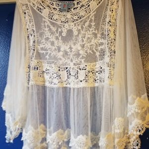 Sheer lacey Cream blouse